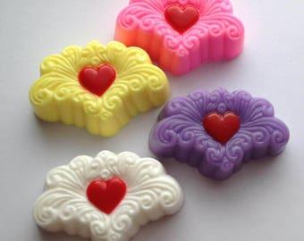 Arabesque Heart Soap, Guest Soap, Bath Soap, Gift Soap, Novelty Soap, You pick scent & color