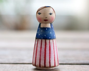 4th of July Decor, Patriotic Art Doll, 4th of July Peg Doll, Mixed Media Art Doll, Patriotic Figurine, Americana Decor, Patriotic Folk Art