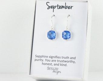 September Birthstone Silver Earrings, Sapphire Silver Square Earrings, Blue Silver Earrings, Bridesmaid Earrings, September Birthday Gift