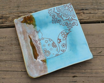 Cat Plate with Flower Pattern, Blue and Brown