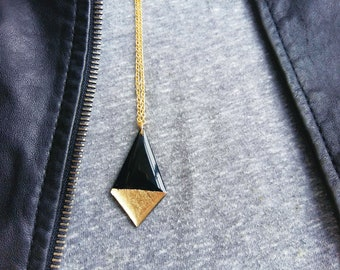 black and gold necklace long boho necklace geometric necklace vinyl record necklace recycled jewelry statement necklace stylish necklace