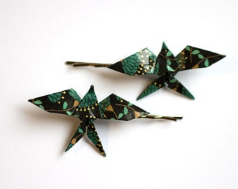 Origami Swallow Hair Clips - Night Forest - 2pcs