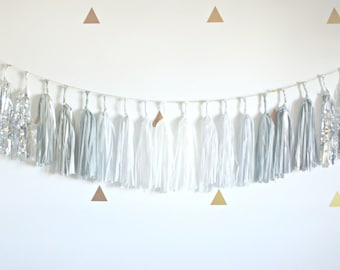 Gray Ombre Gradient and Silver Metallic Sparkle Tassel Garland - winter onederland party, New Years Eve Party Banner . Winter Wedding . Silv