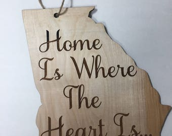 State Home Is Where The Heart Is Door Hanger
