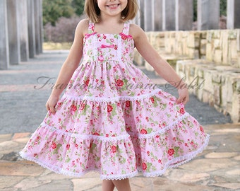 Shabby pink dress, tea party dress, birthday twirl dress, flower girl pink dress, romantic chic floral dress, dress with lace, Easter dress