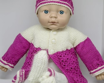 Beautiful Plum and Cream Baby Girl Hand Knitted Warm Woolen Set