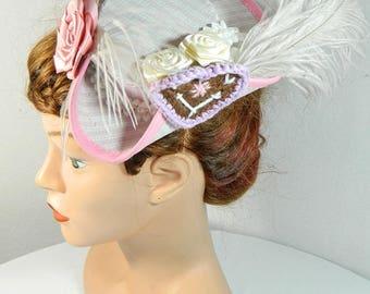 mini tritop pink white folklore style dirndl Marie Antoinette hat Minihat Tophat Bibi Chapeau Baroque Rococo Carnival Venezia Tricorno Hat