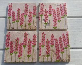 Floral Stone Coaster Set of 4 Tea Coffee Beer Coasters