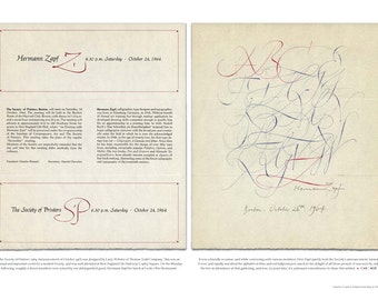 Hermann Zapf Calligraphy / Society of Printers Broadside