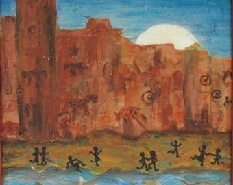 SALE! Original Southwest painting -  16 x 16 inches -  Framed -  by Kate Ladd