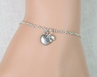 apple bracelet, sterling silver filled, teacher bracelet, small apple charm, teacher's jewelry, teacher appreciation, adjustable bracelet