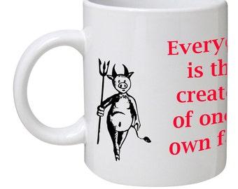Mug with a devil and an angel.Mug with phrase, aphorism, saying.Cartoon Mug for coffee, tea, beer