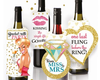 Wine Bottle Labels / Hang Tags for Bachelorette Party | Girls Night Out - Set of 4 - Party Games, Supplies & Party Favors
