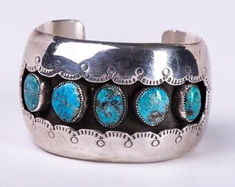 Vintage Morenci Turquoise Navajo Shadow Box Bracelet - Signed - Small Wrist