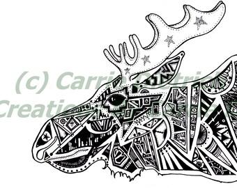 Moose Art, Moose Drawing, Pen and Ink Moose, Pen and Ink Art, Ink Art, Doodle Moose, Black and White Art, Nursery Art, Wall Art, Pen and Ink