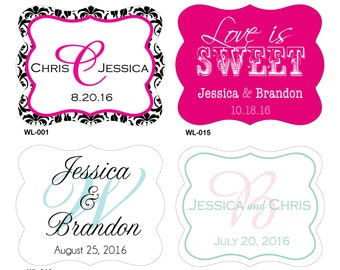 160 - 2 x 1.625 inch Die Cut Custom Glossy Waterproof Wedding Stickers - many designs to choose - change designs to any color or wording