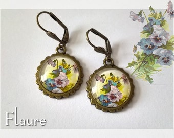 """Cabochons earrings """"flowers of thoughts"""""""