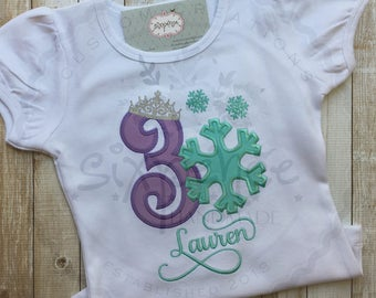 Snowflake Princess | Frozen Birthday | Shirt or Bodysuit | Appliquéd & Embroidered | Personalized | Princess Outfit | By Sixpence