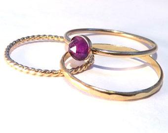 Amethyst rings, Amethyst Stacking Set, Gold Amethyst rings, Natural Amethyst rings, February birthstone rings, February rings, Gold stack