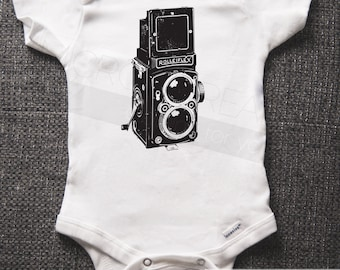 Vintage Camera - Organic One-Piece - Baby Shower Gifts - Baby Bodysuit - Photography - Romper - Co Baby Shower
