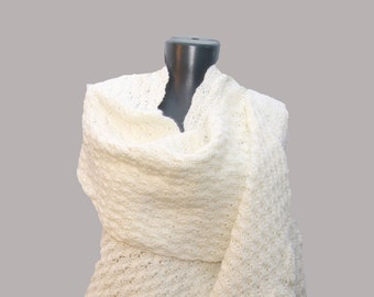 Handmade crochet Fashion scarf.Warm winter scarf.. Long and warm scarf with small flowers for decorated. Knitted handmade scarf.
