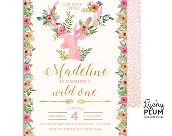 Wild One Birthday Invitation / Boho Birthday Invitation / Deer Birthday Invitation / First Birthday Invitation / Woodland Arrow Tribal