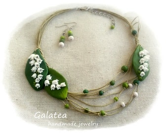 Lily of the Valley necklace May-Lily jewelry set Wedding necklace Woodland jewelry White blossoms Bridal necklace Bridal showers gift Mom's