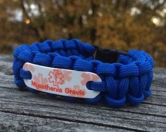 Myasthenia Gravis Medical alert ID bracelet in any stock cord color, Waterproof lead & nickel free bracelets