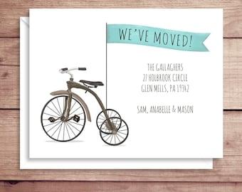 Moving Announcements - New Address Announcements - Tricycle Moving Announcements - New Home - Bike Moving Announcement