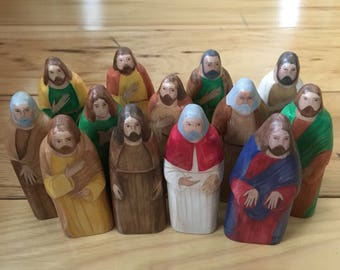 Jesus and His Apostles Wood Figures