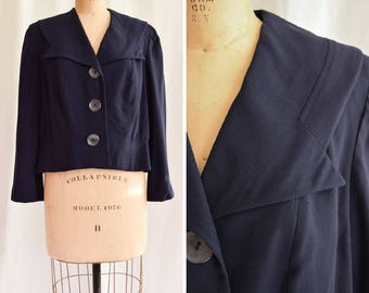1940s Jacket | Barbara Lee | Vintage 40s Navy Sailor Style Virgin Wool Jacket Wide Notched Collar and Large Buttons Forstmann Wool Size M