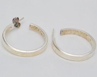 Vintage Hoop Earrings Sterling Silver Pierced Earrings . Mexico
