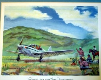1940s Temco Swift GC-1B 2 Place Small Aircraft  Aviation Art