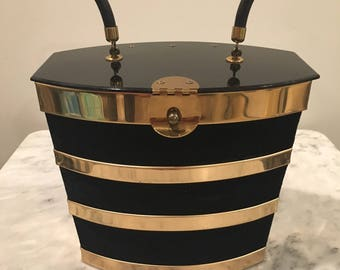 Dorset Rex 5th Avenue Black Velvet & Gold Box Purse