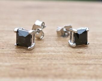 Vintage 925 Sterling Silver Black Square CZ Stud Earrings