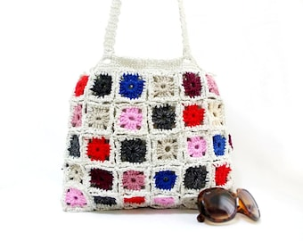 Crochet granny square shoulder bag, handmade traditional crochet bag, gift ideas for her, gift for mom, gypsy style bag, multicolor tote