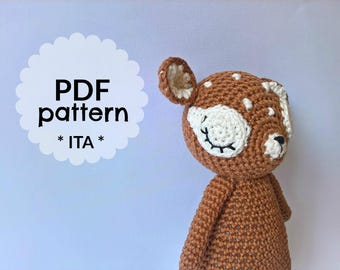 Cerbiatto amigurumi schema PDF - Sleeping fawn amigurumi pattern - PDF pattern - crochet animal pattern - amigurumi wood animal pattern