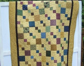 Jewel Toned Squares on Caramel Background Lap Quilt
