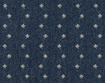 Navy Blue And Beige Mini Flowers Country Style Upholstery Fabric By The Yard | Pattern # C634