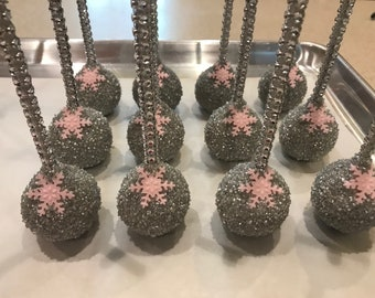 Pink and Silver Snowflake Cake Pops