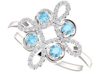 Aquamarine Diamond Statement Ring, Gemstone Clover, 14K White Gold, Floral, March Birthstone