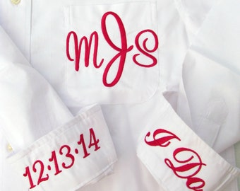 Bride Shirt - Monogrammed Button Down Wedding Day Shirt for the Bride