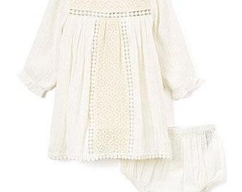 White lace long sleeve cotton dress infant