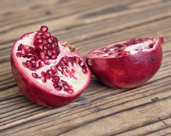 Pomegranate art, food wall art pomegranate photograph brown red kitchen decor, fruit still life, rustic kitchen wall art, dine room decor