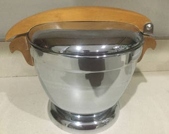 Vintage Manning & Bowmann Art Deco Chrome W/Maple Handle Ice Bucket