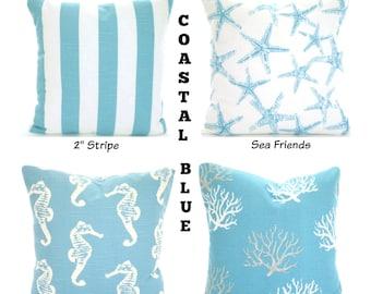 Aqua Pillow Covers, Nautical Beach Decor, Decorative Throw Pillows, Nautical Cushions Coastal Blue White, Mix & Match One or More ALL SIZES