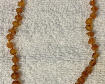 """Baltic Amber Teething Necklace - 13.5"""" - Raw Rounded Burnt Caramel"""