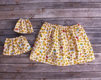 Matching Girl Doll Clothes fits American Girl Doll OR Wellie Wisher - White Emoji Skirts, Size 1T, 2T, 3T, 4T, 5T, 6, 7, 8, 10, 12, 14