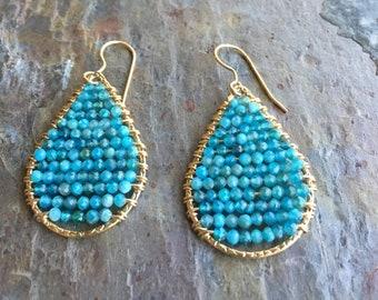 Apatite gemstone gold hoop statement earrings