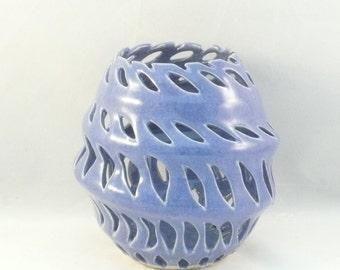 Large Purple Vase, 9th Anniversary Gift, Ceramic Luminary, Cut out vase. home decor, office decor, art object, purple ceramic vase